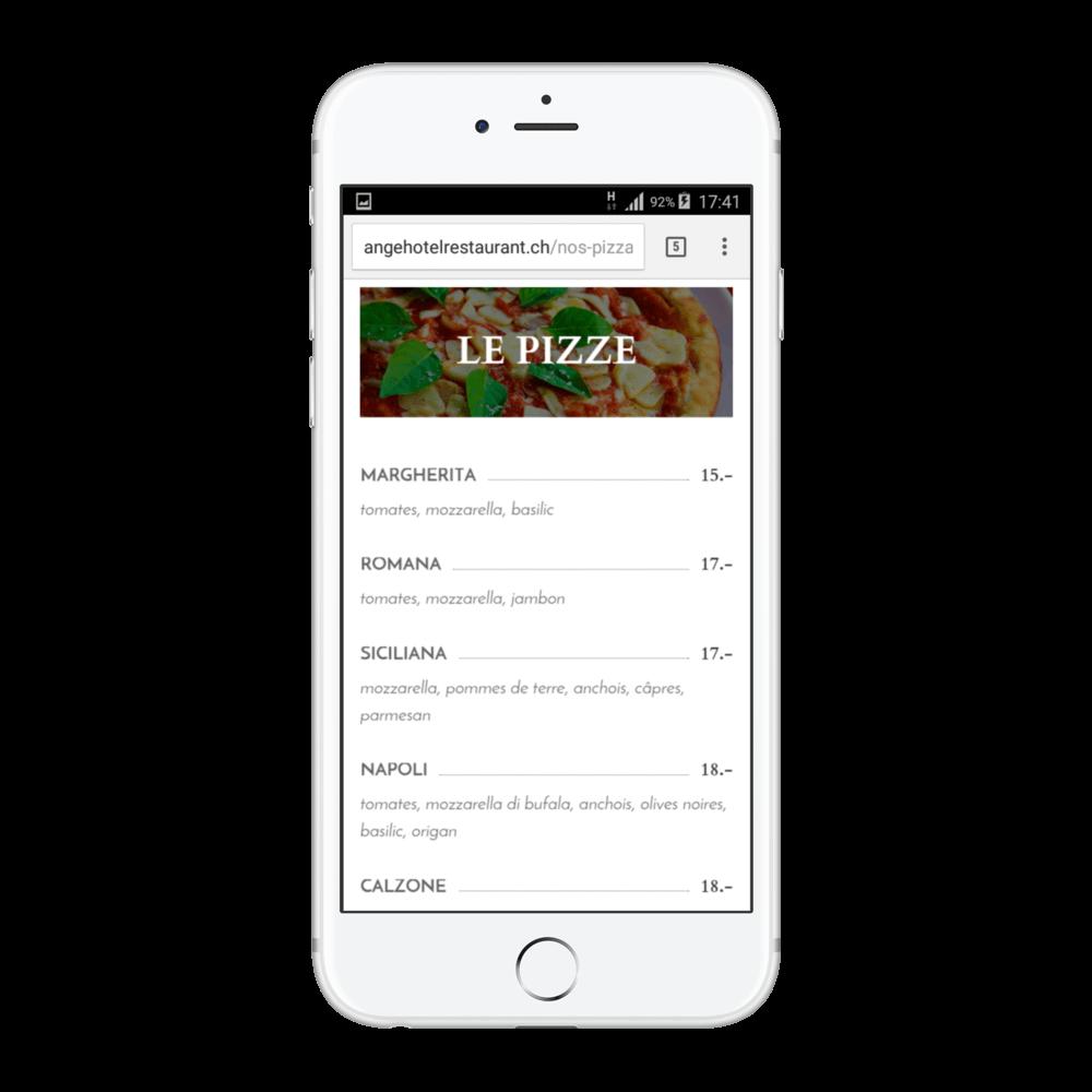 """Présentation site angehotelrestaurant.ch page """"Nos pizza"""""""