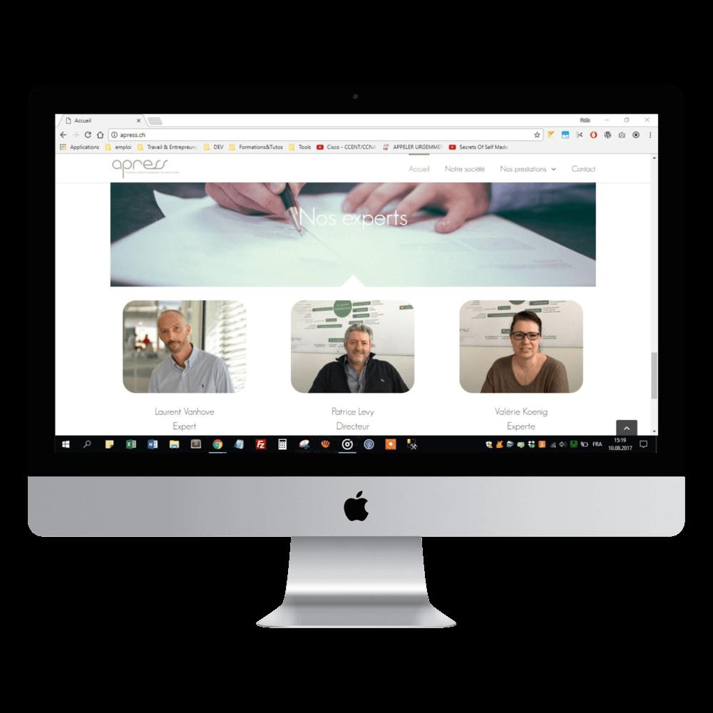 Présentation sur mac du site apress.ch