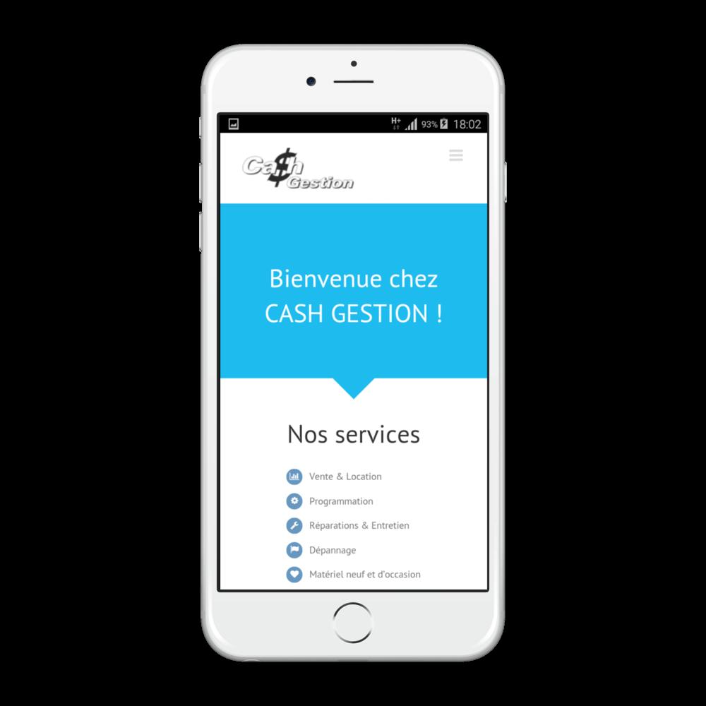 Présentation du site cash-gestion.ch sur iphone