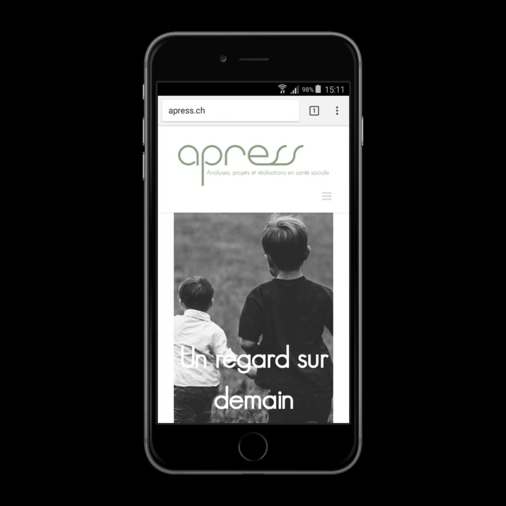 Présentation du site apress.ch sur iphone