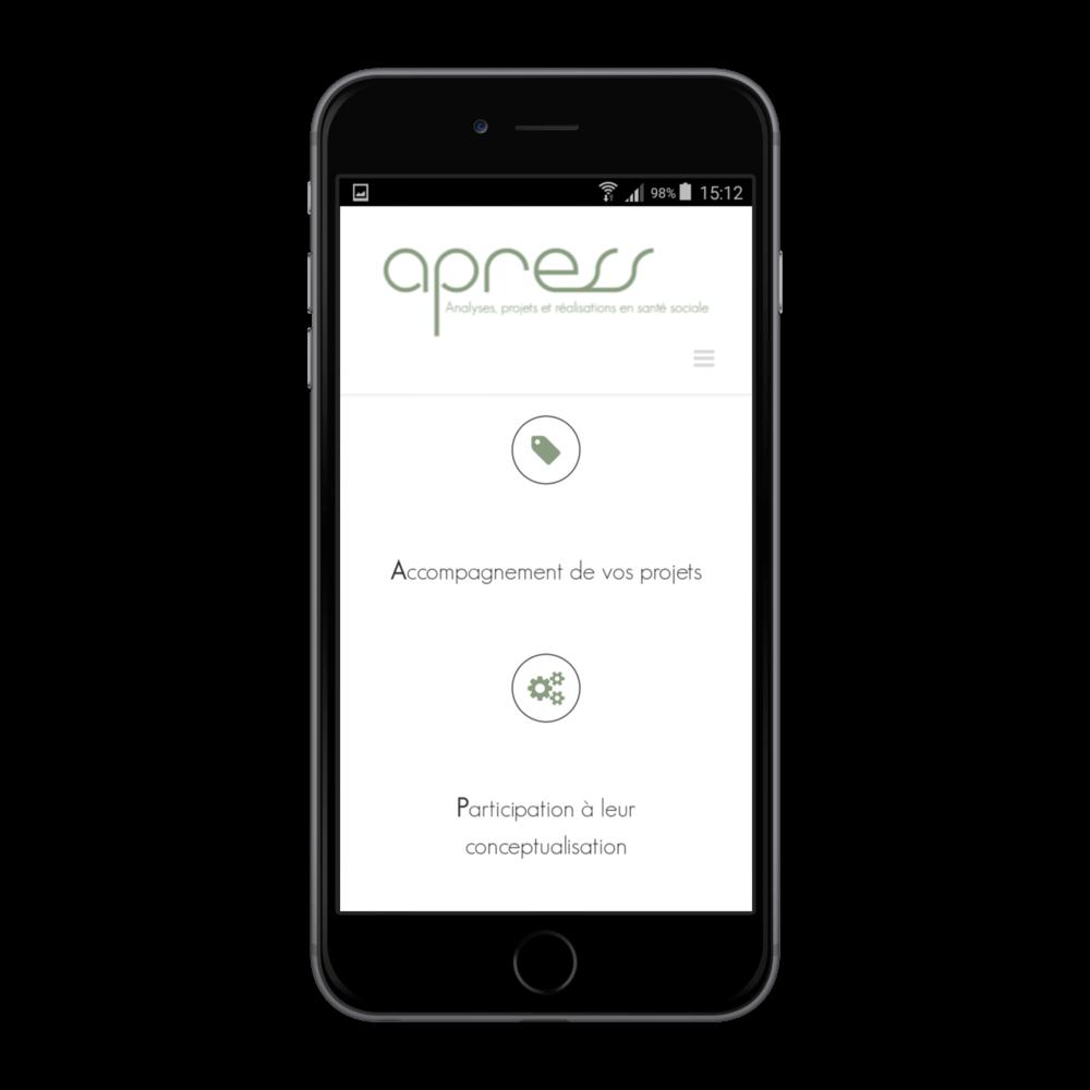 Présentation sur iphone du site apress.ch