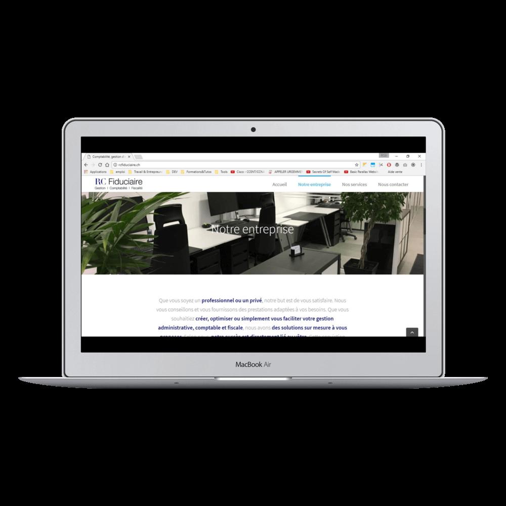 Présentation du site RCFiduciaire.ch sur laptop mac